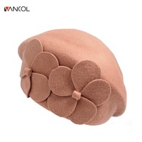 Vancol 2017 New Arrival Fashion Female Winter Hat Solid Color Black Ladies Flat Cap Flower Red