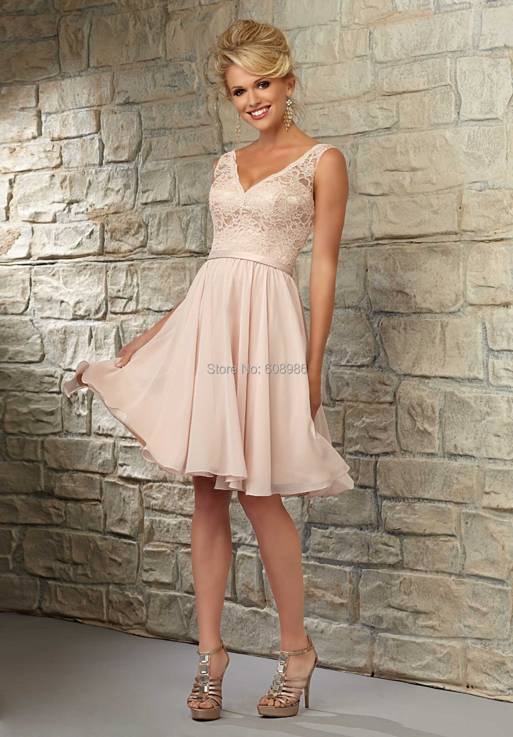 CT0024 Cheap Party Dress V Neck Coral Peach Pink Sexy Knee Length Lace Bridesmaid Dresses In
