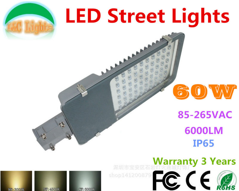 Hot Sale 110V 220V 60W LED Street lights LED Road light Warranty 3 Years LED Garden lamp CE RoHS IP65 Outdoor Lighting 2 Pcs/lot hot sale 110v 220v 60w led street lights led road light warranty 3 years led garden lamp ce rohs ip65 outdoor lighting 2 pcs lot