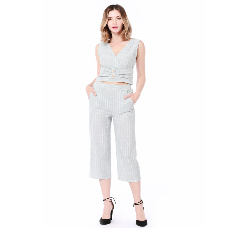 MUXU fashion striped casual streetwear women set suits clothes Cotton linen summer two piece set two piece set top and pants new in Women 39 s Sets from Women 39 s Clothing
