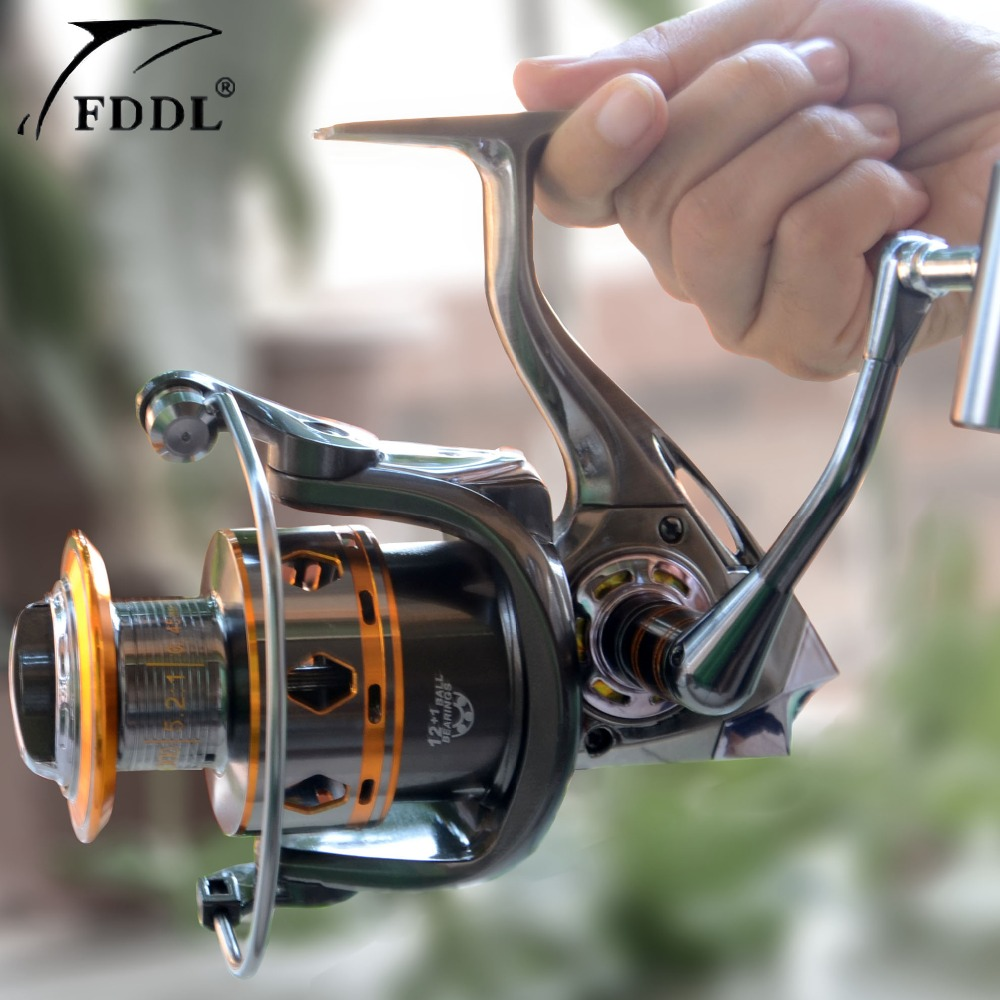 Free Shipping Fishing Equipment 12+1 Ball Bearings fishing Spinning reel 5.2:1 mulinelli pesca trolling reel 3bb ball bearings left right interchangeable collapsible handle fishing spinning reel se200 5 2 1 with high tensile gear red
