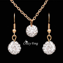Fashion Rhinestones Ball Jewelry Sets for Women Vintage Gold Color Necklace Earrings African Beads Jewelry Set Wedding Jewellery