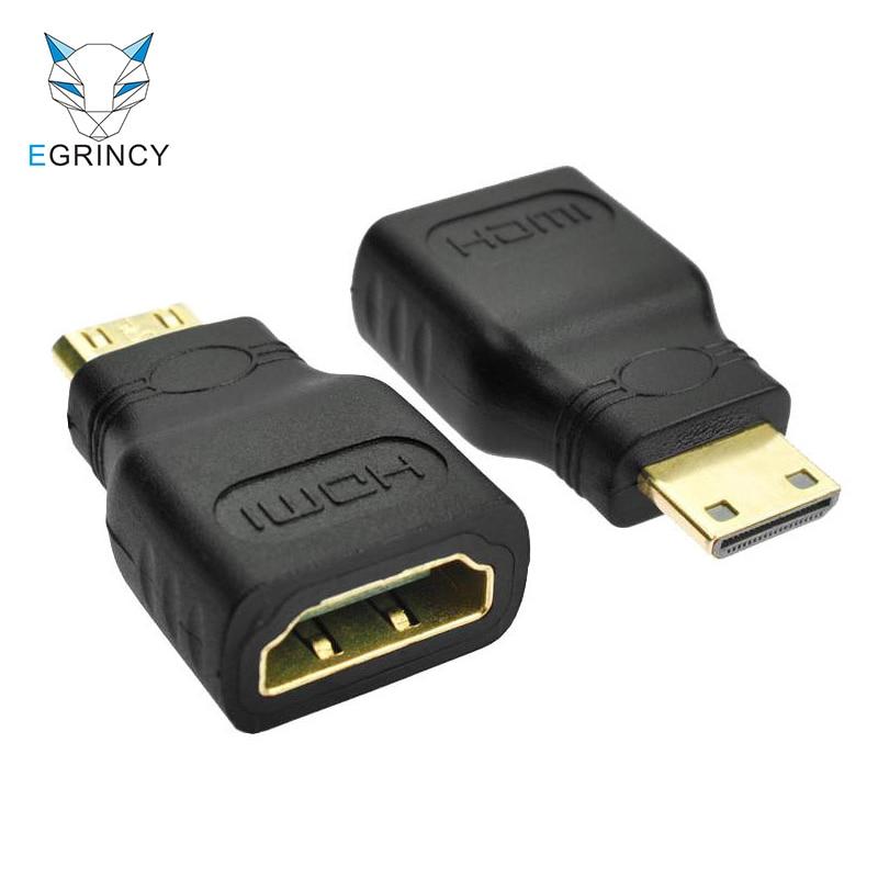Gold Adaptor Hdmi 1.4 Female Jack To Mini Hdmi Male Plug Converter Hd 1080P HV