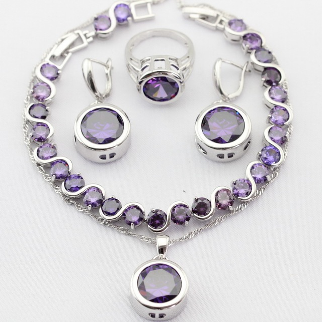 Round Silver Color Necklace Pendant Drop Earrings Rings bracelet Purple Synthetic Amethyst Women Christmas Jewelry Sets