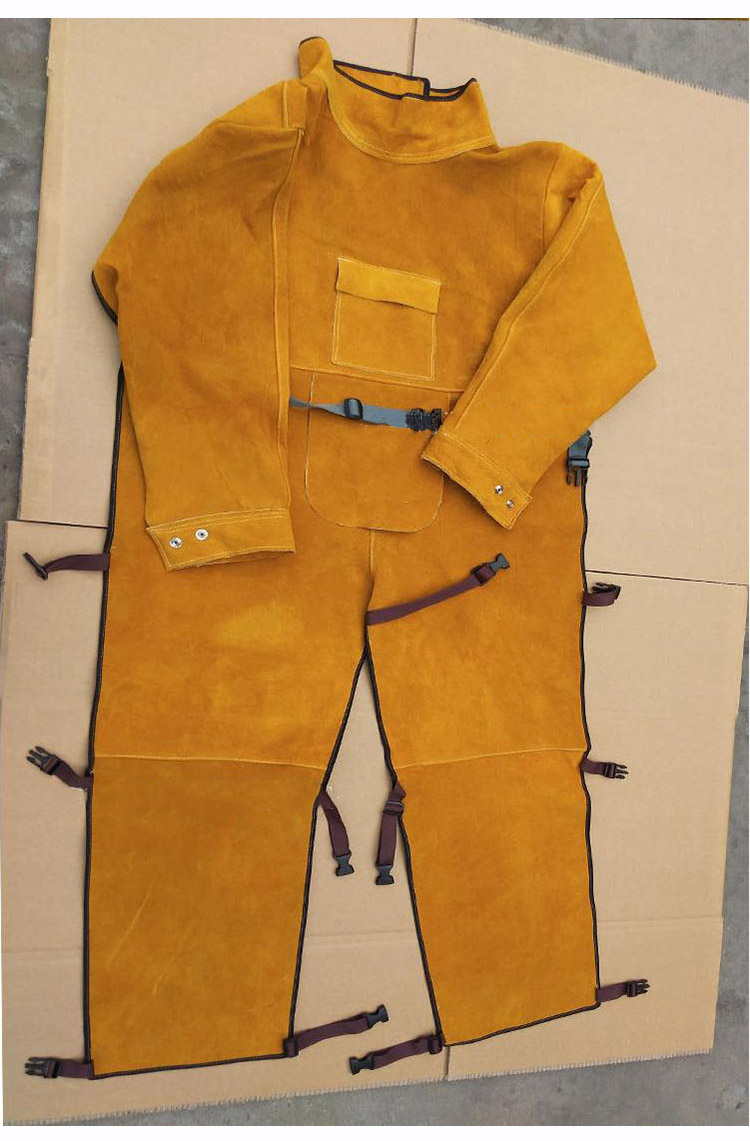 Welding Protective Clothing Cowhide Split Leather Flame Retardant Welder's Aprons Long Sleeve Leg Wrappings Work Safety Clothes (7)