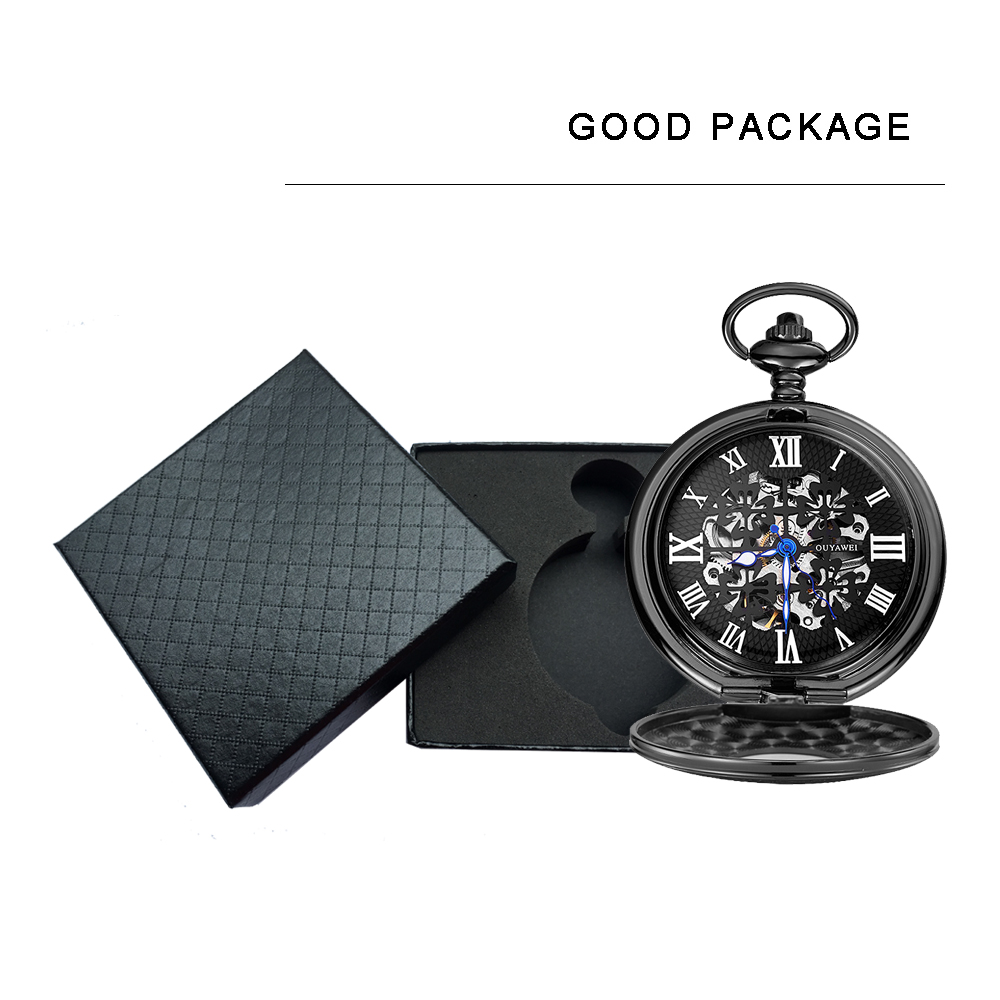 mechanical pocket watch men gift box