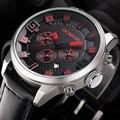 Luxury Brand Chrono 24 Часов Дата Кожа Спортивные Часы Мужчины Кварцевые Аналоговые Часы Мужской Моды Случайные Военный Наручные Часы
