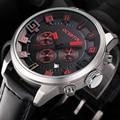 Marca de lujo Chrono 24 Horas Fecha Relojes Deportivos Hombres Analógico de Cuarzo Reloj de Moda Masculina de Cuero Ocasional Del Ejército Militar Reloj de Pulsera