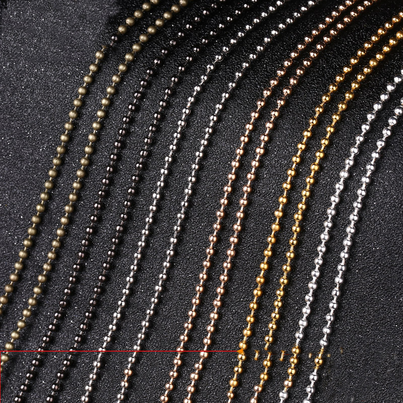 5 Meters 1.2mm 1.5mm 2mm 2.4mm Metal Ball Chains Gold Silver Color Round Ball Bead Chains Bulk For DIY Necklace Jewelry Making