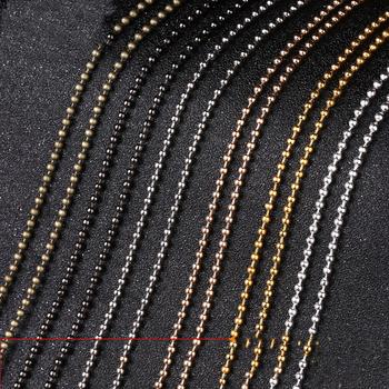 5 metrów 1 2mm 1 5mm 2mm 2 4mm metalowa kula łańcuchy złoty kolor srebrny okrągła kula łańcuszki z koralików luzem dla naszyjnik DIY two #8230 tanie i dobre opinie Mibrow Łańcuchy 0inch Ball Chains Ocena biżuteria iron K625 Width 1 2mm 1 5mm 2mm 2 4mm Silver Gold Antique Bronze KC Gold Rhodium