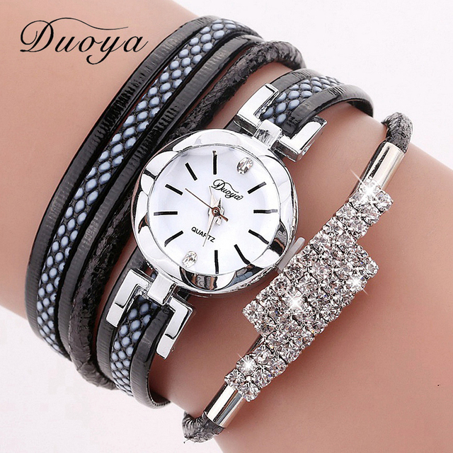 Duoya Brand Bracelet Watches For Women Luxury Silver Brand Rhinestone Dress Quar