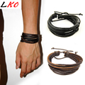Newly Design HOT Wrap Leather Bracelets & Bangles For Men And Women Black And Brown Braided Rope Fashion Man Jewelry