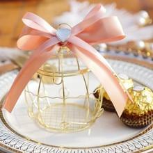 Mini metal dorado vintage retro pájaro jaula cajas de dulces regalo para fiesta de bienvenida de bebé caja para invitados fiesta cumpleaños recuerdo