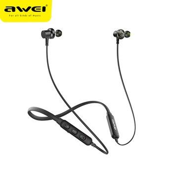 AWEI G20BL Dual Driver Neckband HiFi Wireless Bluetooth Earphones Earbuds CVC Noise cancelling IPX4 Stereo Deep Bass For Phone