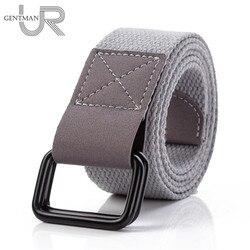 Cinturón de lona con etiqueta de tela para hombres y mujeres, cinturón de Jeans de moda, cinturones casuales de alta calidad de 3,8 cm de ancho