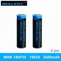 4PC beste preis IMALENT 18650 3600 mah MRB 186P36 3 7 v lithium ionen akku hohe leistung für hohe LED taschenlampen-in Tragbare Beleuchtung Zubehör aus Licht & Beleuchtung bei
