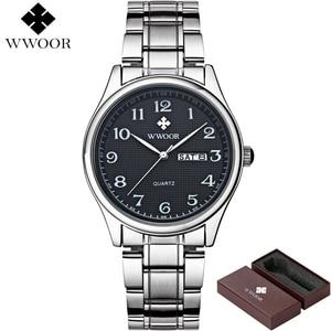 Image 2 - WWOOR reloj de cuarzo para hombre, reloj Masculino de pulsera, deportivo, informal, de acero inoxidable
