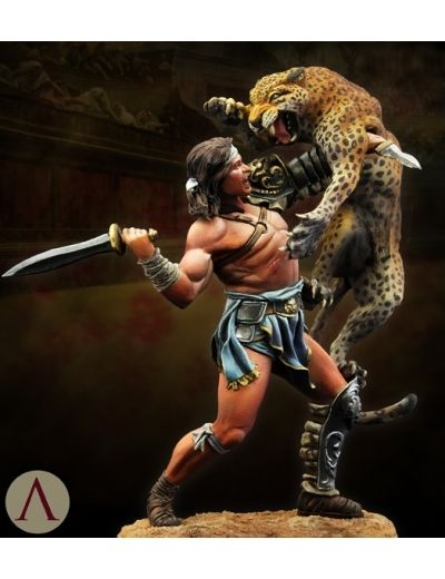 1/24 75mm Roman Gladiator Duel Of The Beast 75mm   Toy Resin Model Miniature Kit Unassembly Unpainted