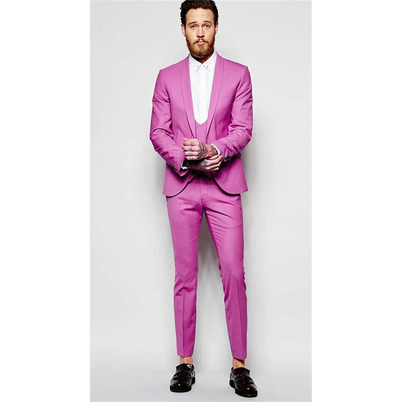 Men Slim Fit Suit Hot Pink Groom Wedding Tuxedos Houndstooth Formal Prom Suits