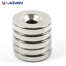 U-JOVAN 5 uds 20x4mm agujero: 5mm imán de anillo avellanado redondo superfuerte de neodimio(China)