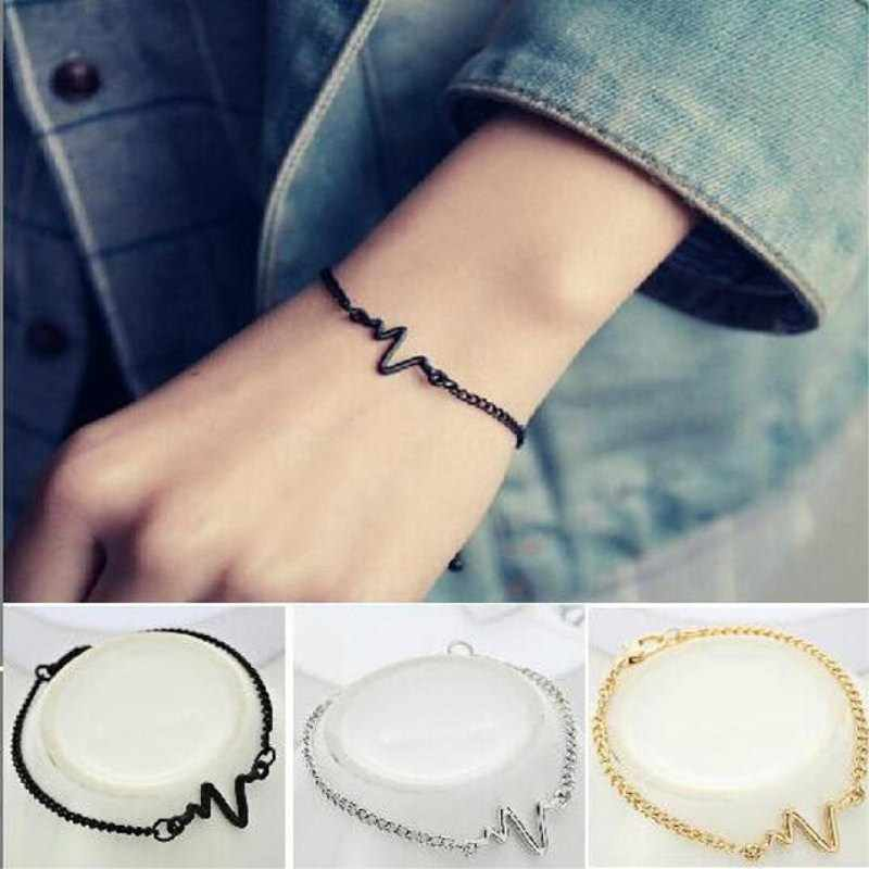 New Heart Beat Simple Ecg Bracelets for Women Pulseras Mujer Love Frequency Bracelets Party Wedding Gift Female Fashion Jewelry