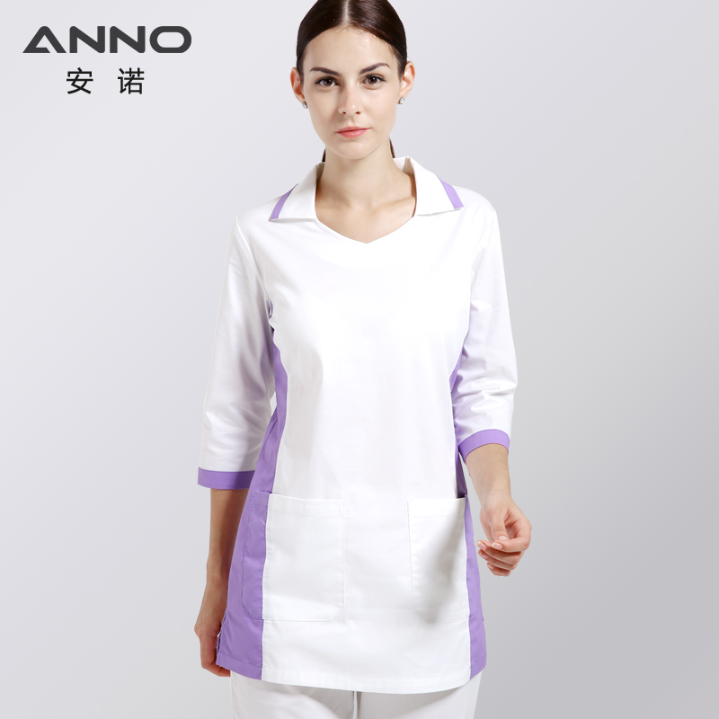 Medical Supply White Short Sleeves Hospital Uniforms Cotton Medical Women Scrubs Slim Fit Beauty Nursing Scrubs With Collar