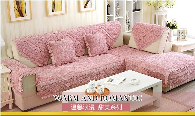 Thick Slip Resistant Couch Cover for Corner Sofa Made with Plush Fabric Including Lace for Living Room Decor 15