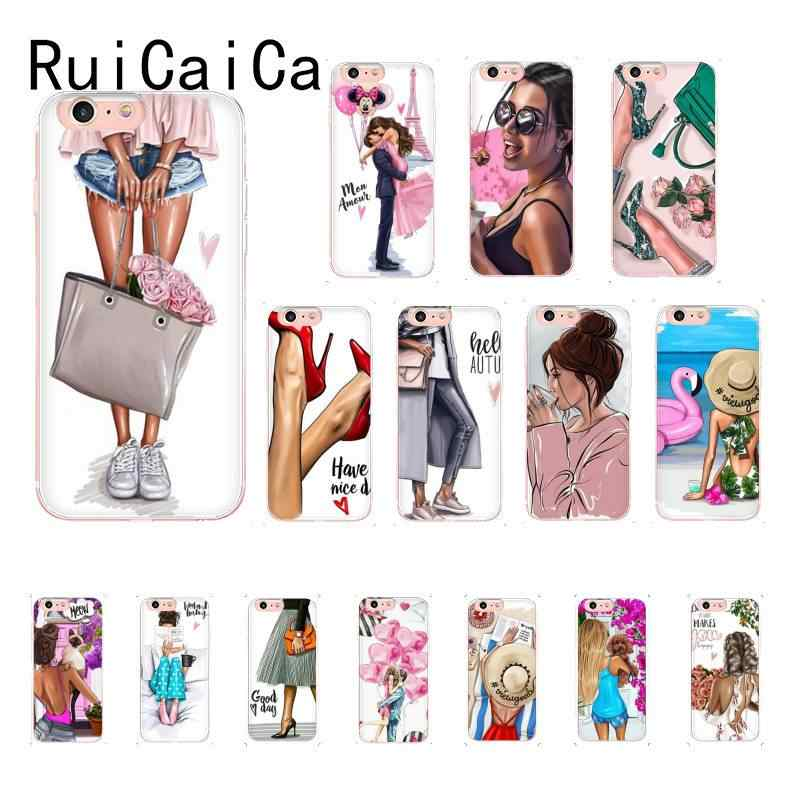 RuiCaiCa Thời Kỳ Nghỉ Mua Sắm DIY Cao Cấp Cho iPhone 8 7 6 6S 6S Plus X XS MAX 5 5 5S SE XR 10 Cover 11 11pro 11Promax