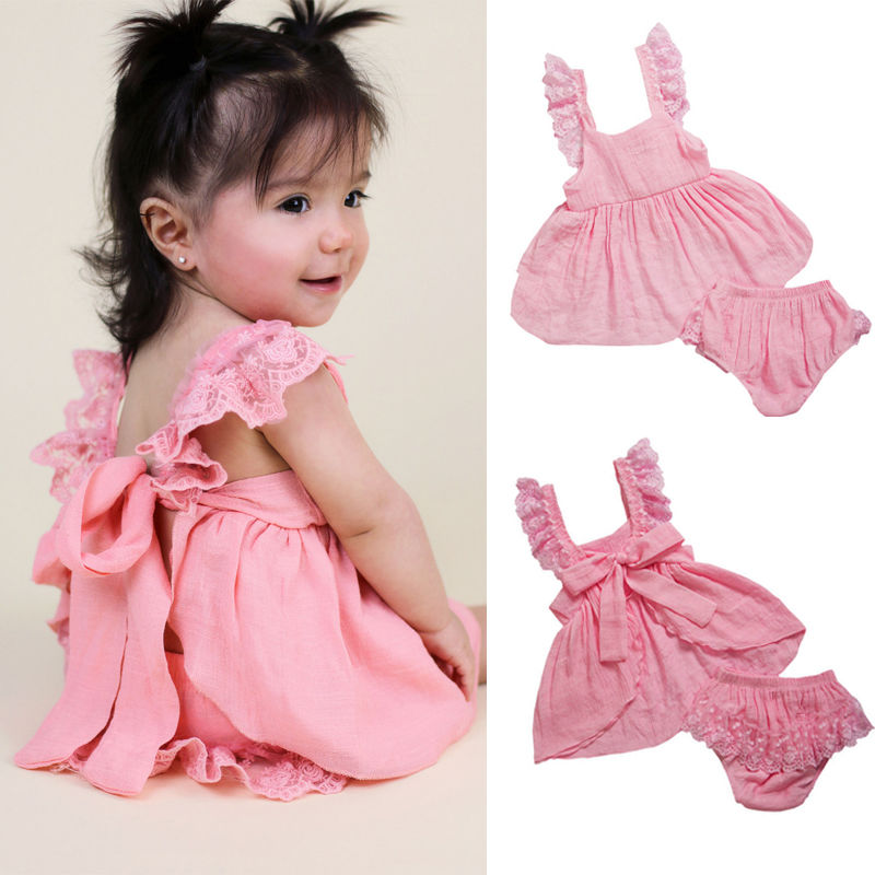 Infant Baby Girl Birthday Wedding Pageant Party Princess Lace Tutu Flower Dress