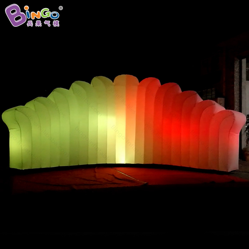 Customized 7X3 Meters LED Lighting Inflatable Wall 16 Colors Change Air Wall For Display Light-up Toy