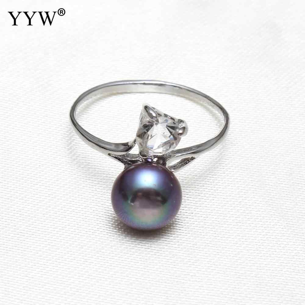 Yywブライダルウェディングリング9-10ミリメートル黒天然淡水真珠指リング立方ジルコンラインストーン淡水パールリング女性