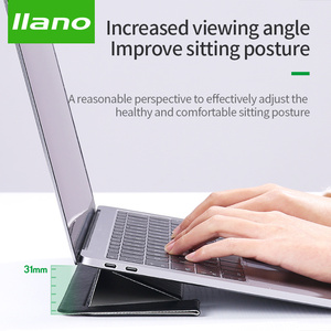 Image 1 - PU Laptop Stand Portable Notebook Holder for Apple MacBook Air Pro chromebook HP laptop 11 15 inches Folding Computer Table