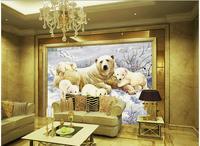 3d carta da parati personalizzata foto non tessuto mural orso polare bambino pittura decorazione della parete 3d murales carta da parati per soggiorno