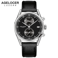 New Silver Bezel Back Leather Band Wrist Watch Swiss Mens Watches AGELCOER Brand Designers Quartz Watches 50m Waterproof