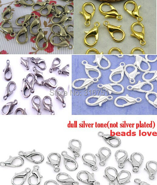 (100Pcs/lot )Pick 5 Colors Zinc Alloy Jewelry Findings 502 Lobster Clasp Hooks Vintage Jewelry Making Clasps 12mm (w02915)
