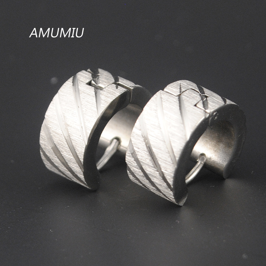 AMUMIU Silver&Gold Men Earrings For Women Or Ear Cuff Punk, Stainless Steel Earrings Unisex Pendientes Brincos Jewelry HE005