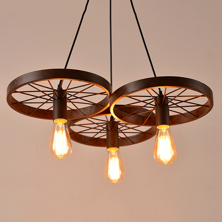 Loft Retro Restaurant Bar Pendant Lamps American country wrought iron chandeliers industrial style wheels nordic retro wall lamp bedside light wrought iron lamps shade american country style restaurant bar industrial light