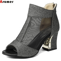 Asumer Big Size 32 43 Fashion Square Heel Summer New Wome Pumps Zipper Ladies Prom Shoes