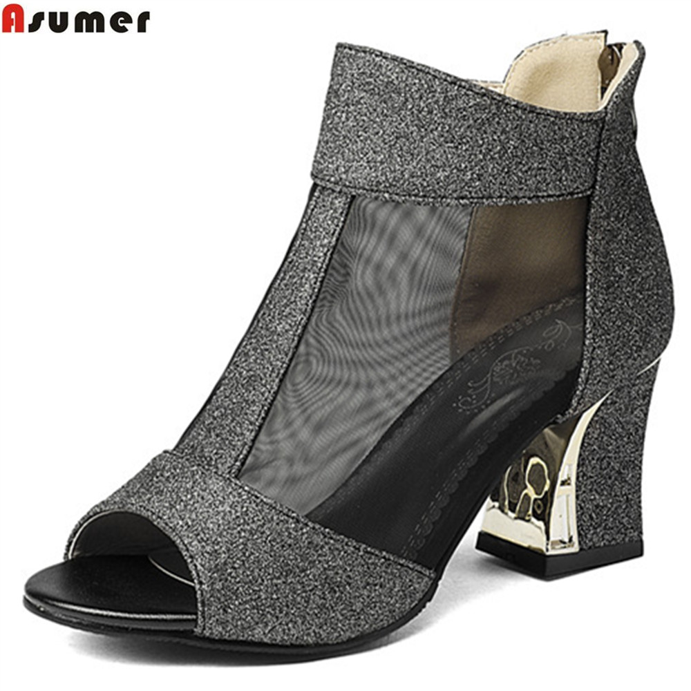 Asumer big size 32-43 fashion square heel summer new wome pumps zipper ladies prom shoes peep toe high heels shoes odetina 2017 new fashion peep toe t strap sandals thick high heel platform buckle ladies square heel shoes summer big size 33 43