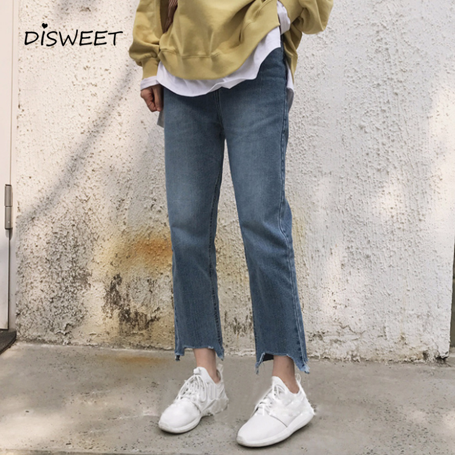 DISWEET Denim   Jeans   Female 2019 New Korean Vintage Pants Loose Straight Trousers Casual Washed Nine Pants Summer Plus Size