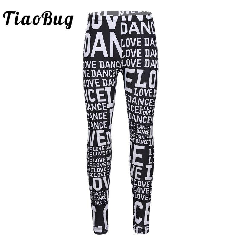 TiaoBug Cute Children Girls Letters Printed Dance Pants Leggings Tights For Ballet Dance Stage Gymnastics Sports Kids Dance Wear