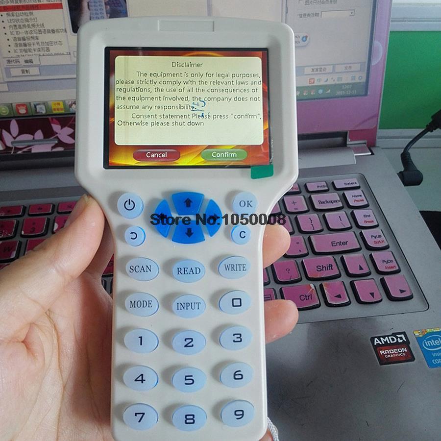 USB smart anglais système NFC Lecteur Écrivain 125 KHz-13.56 MHz IC/ID Carte RFID Copieur pour uid tag Duplicateur T5577