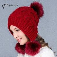 Fibonacci 2017 New Winter Cute Beanies Cap Three Rabbit Hair Ball Ear Protection Warm Knit Hat