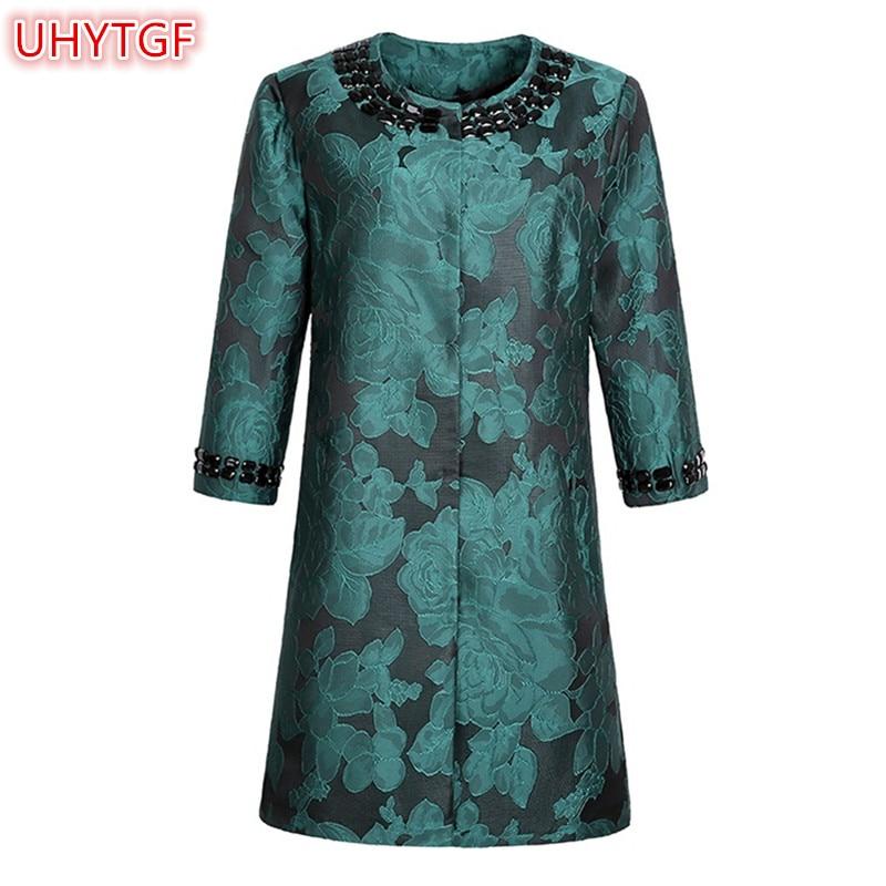 UHYTGF 2018 New Spring Autumn   trench   coat Womens Clothing Medium long section Plus size embroidered fashion Windbreaker Coats 35
