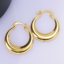 luxury female Earrings Jewelry Gold/Rose Gold Color Plating Simple smooth round earrings for Women fashion jewelry gifts