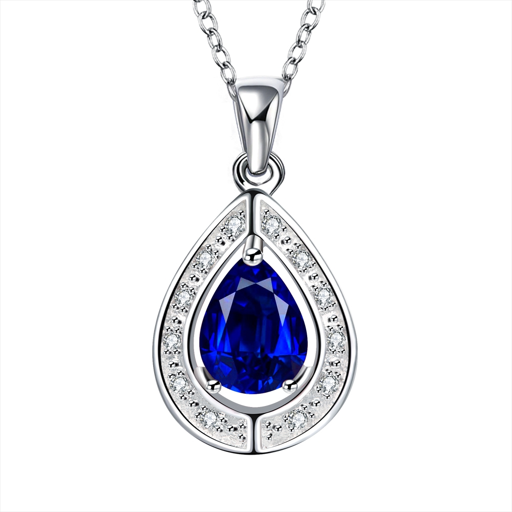 N013 925 sterling silver jewelry fine fashion cute Big drop water with blue stone pendant necklace r women wedding jewerly