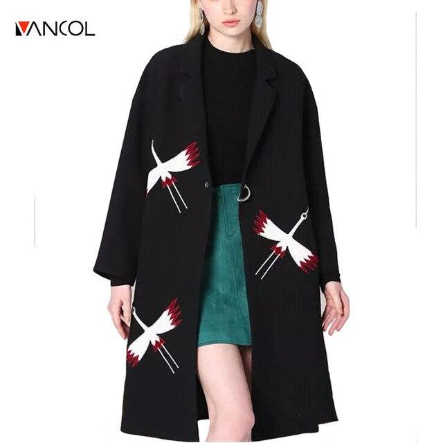 2016 lange damen mantel crane patch designs embroidery black jacket ladies woolen coats metal ring button women wool long coat