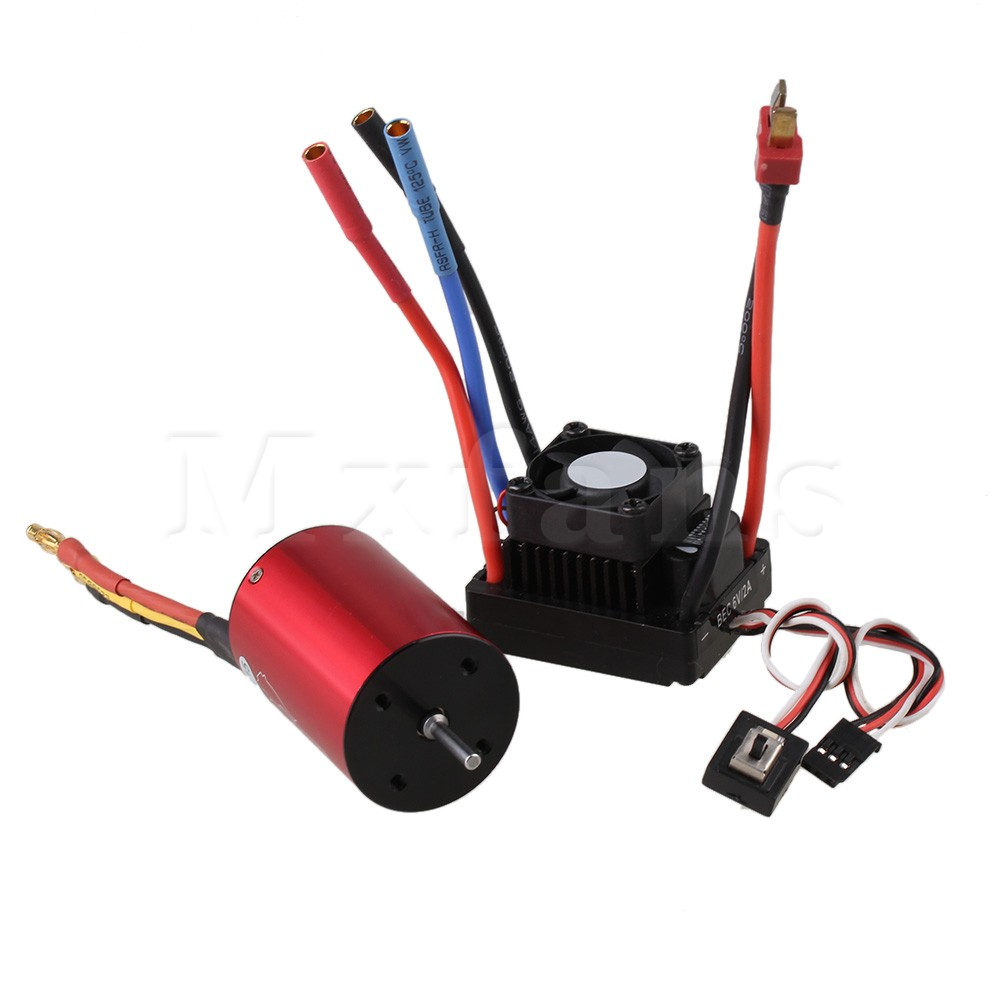 Mxfans Red RC1:10 Off-road Car N10049 45A Waterproof Brushless ESC with Motor 2 in 1