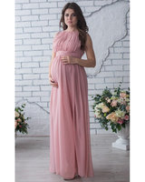 Celebrity Evening Gowns Pink Brief Chiffon Evening Gowns Dresses Mother Groom Evening Gowns Pregnant Women
