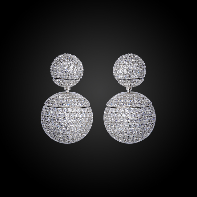 Fashion Brand Jewelry New Hot Silver Plated High Quality Charming Metal Round Double ball Stud Earrings  GLE5637A